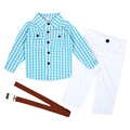 Kids Boy Clothes Set 3 PCS Plaid Shirt + Straight Pants Trousers + Belt Outfits Children's New Year Costumes Schoolwear MA02TZ