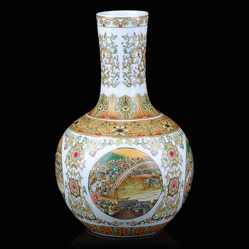 Jingdezhen ceramic vase painting modern classical Home Furnishing decorated living room decoration crafts