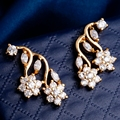 Yunkingdom flower earrings women gold plated clear cubic zirconia fashion earring  M0194