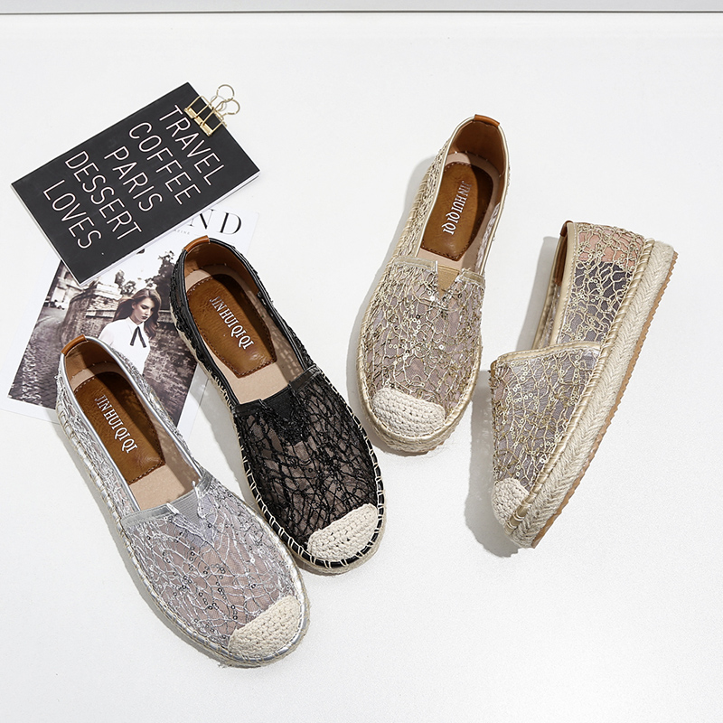 2017 Women Espadrilles Lace Hemp Flats Fisherman Autumn Shoes Sequins Loafers Slipony Black Silver Gold Loafer Designer Brand цена и фото