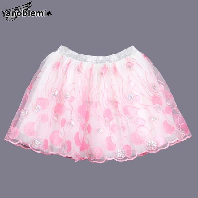 New Fashion Girls Brand Tutu Skirts Baby Childrens Lovely Pattern Lace Net Yarn Pettiskirts Kids Dancing Party  Princess Clothes