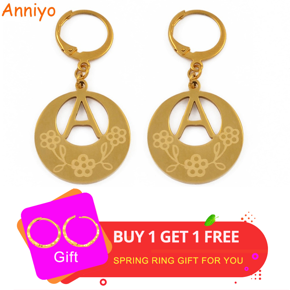 Anniyo A-Z Gold Color Kiribati Initial Letter Earrings Women English Alphabet Jewelry Gifts (More Letter Check My Store) #022921 earrings