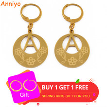 bf099499a Anniyo A-Z Gold Color Kiribati Initial Letter Earrings Women English  Alphabet Jewelry Gifts (More Letter Check My Store) #022921