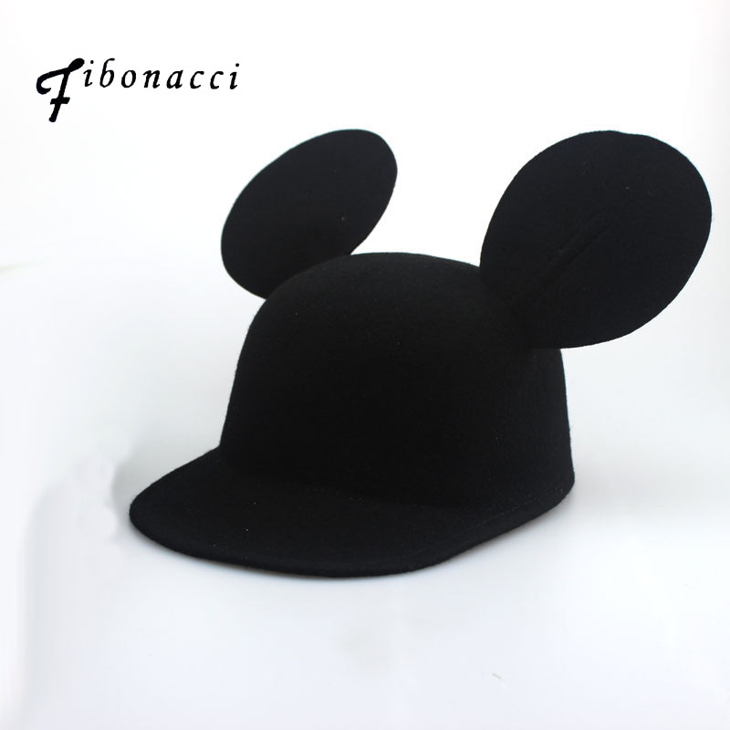 Fine Fibonacci Lovely Mickey Ears Felt Hat Dome Flanging Women Bowler Fashion Cap Stage Performance Headdress Fedoras Apparel Accessories