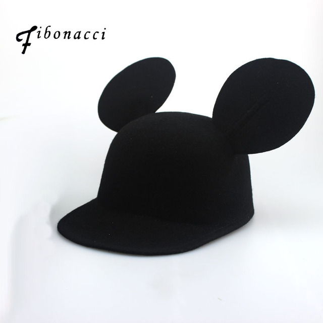 1691952b580 Fibonacci Wool Felt Fedora Hat Ladies Autumn and Winter Lovely Mickey Ears  Hat Fashion Women Cap
