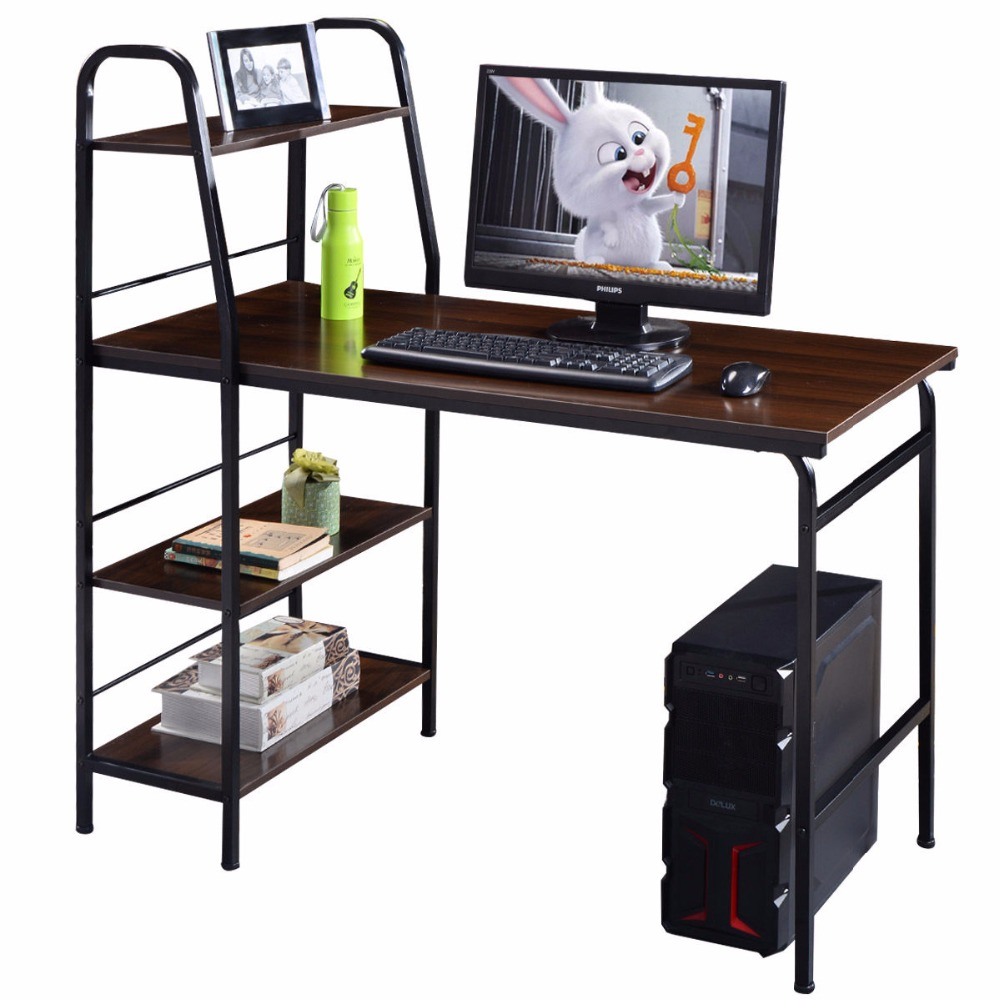 Goplus 48 Multi-Function Computer Desk with 4 Tier Shelf Workstation Table Modern Wood H ...