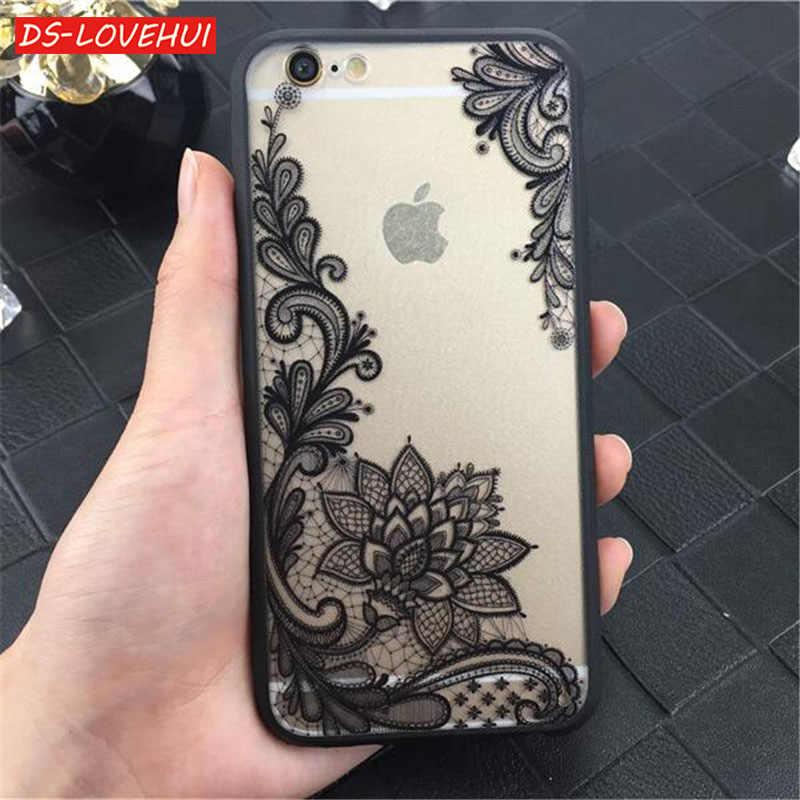 DS LOVEHUI Телефон чехол для iPhone 6 6s Plus 7 5 5S SE Роскошные кружевные цветы TPU Защитный 8 X