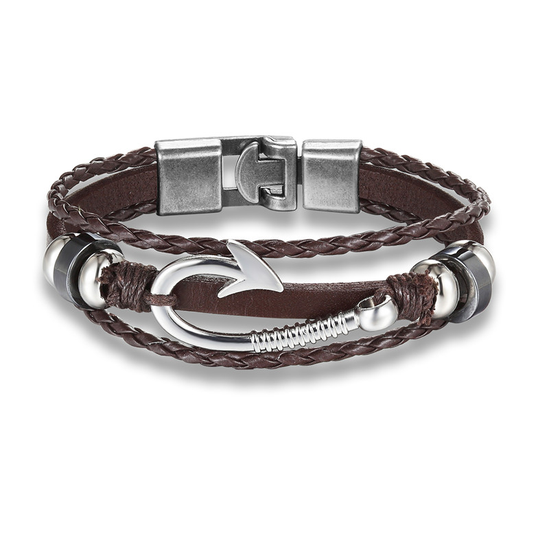 New Fashion Black Brown European Style Scorpion Leather Bracelets Men Charm Rope Chain Paracord Bracelet Wrap Metal Sport Hooks in Charm Bracelets from Jewelry Accessories
