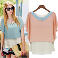 2017 New Arrival Sexy Women Summer Hot Selling Hit Color Doll Collar Loose Casual Chiffon Dress Shirt Tops Blouse
