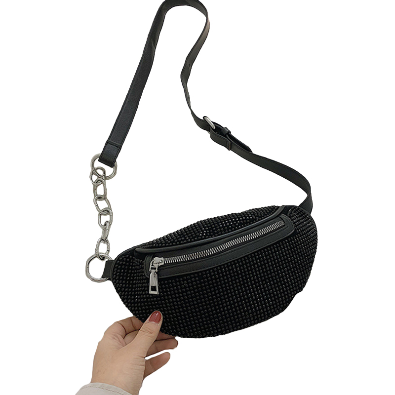 Women'S Waist Bags Diamonds Ladies Fanny Pack Fashion Chest Bag Banana Rhinestone Chain Crossbody Shoulder Bags Belt Bag