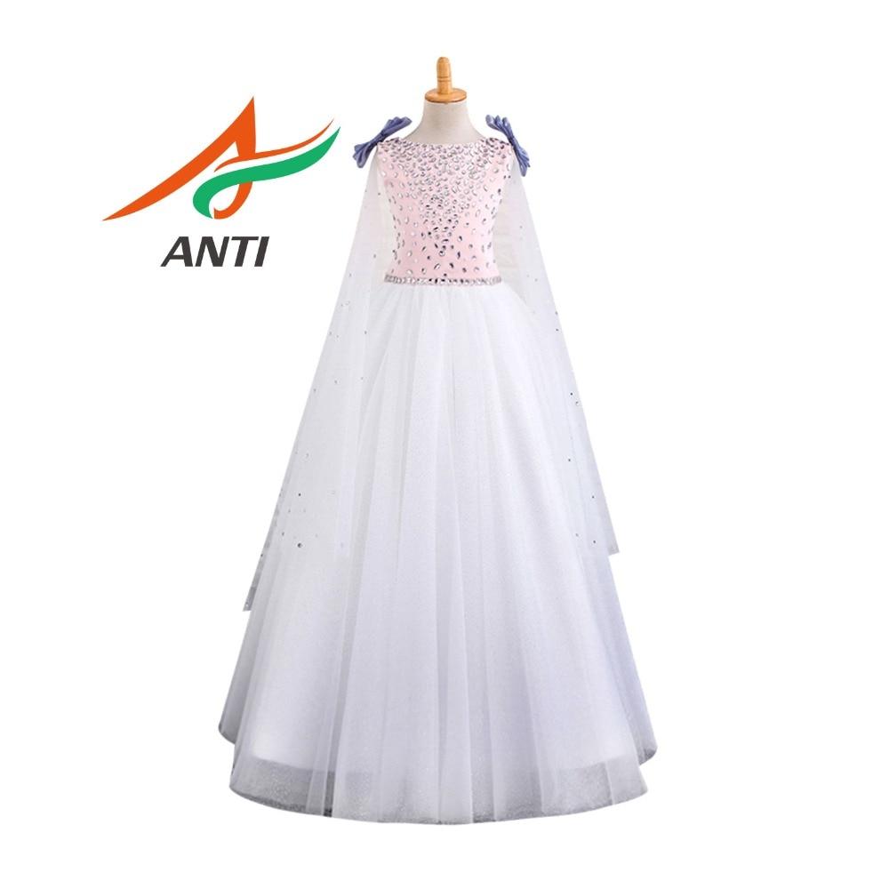 ANTI beautiful Pink and white Flower Girl Dresses Beading Bow Crystal Little Girls Kids Children Dress vestido de daminha Zipper