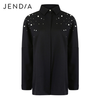 JENDIA Elegant Beading Pearls Black Shirts Women Casual Turn Down Collar Blouse Long Sleeve Office Lady