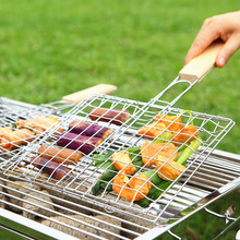 Moyishi Nonstick Stainless Steel Fish Grilling Basket Folding for Roast BBQ Barbecue with Wood Handle