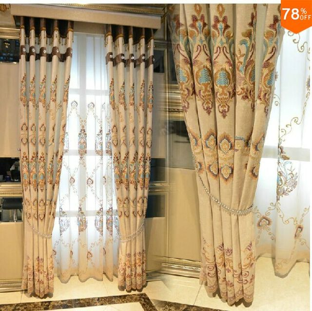 wholesale 2017 colors Flowers embroidery blinds finished curtain with tulle sheet curtains include valance and bead & beads rope
