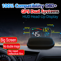OBDHUD C800 2 In 1 GPS OBD2 Head Up Display On board Car Computer C600 Digital Speedometer Projector Driving Fuel Consumption