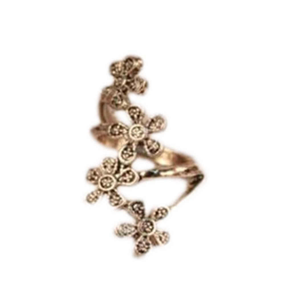 Última moda Vintage Original comercio único Cuatro pequeñas flores de ciruelo anillo Retro joyería directa de fábrica