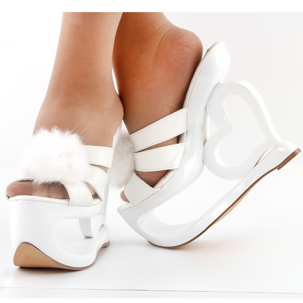 LF40211 SHOW STORY Glam White Faux Fur Heart Heel Wedge Wedding Slip-ons Sandals lf40203 sexy white pink blue strappy heart heel wedge wedding sandals sz 4 5 6 7 8 9 10