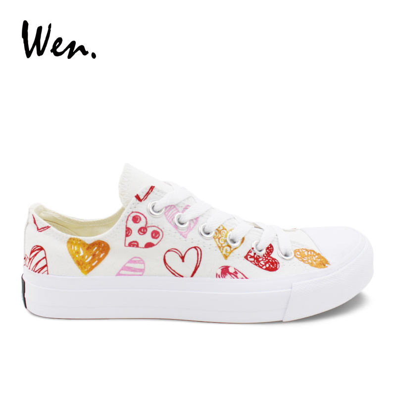 Wen Low Top Canvas Sneakers Men Casual Shoes Love Peach Hearts Original Design Hand Painted Shoes Unisex Lovers Footwear Flat wen women vulcanize shoes high top white canvas sneakers round toe low heeled casual flat original design food series patterns