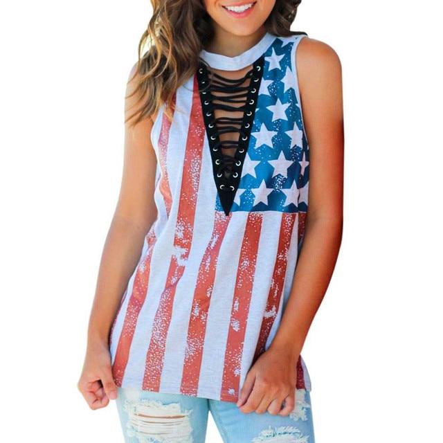 4bcc6cf0eb5398 MUQGEW Women USA flag Print American Flag Sleeveless Tank Tops Vest T-Shirt  personality Independence Day female ladies tops 2017