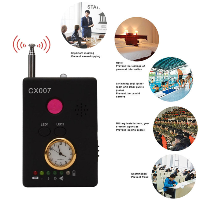 Full Range Wireless Signal Detector Bug RF Detector Camera Lens GSM Device Tracer Finder Anti-Spy Device 1 pcs wireless signal finder anti spy full range rf camera detector protable gsm sensor mini hidden camera use in hotel