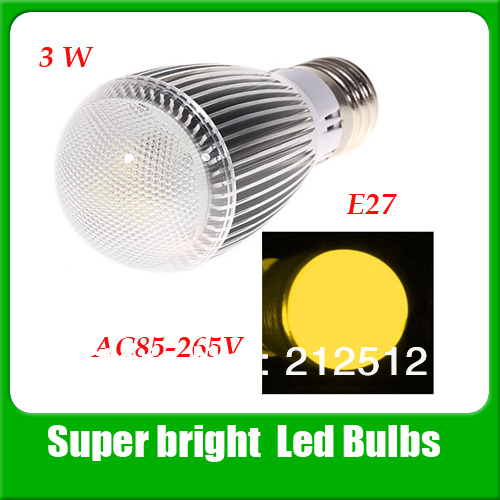 Free shipping E27 3W 3 LEDs 300-330 Lumen Led Lamp  AC85V~265V LED Bulb QP0093