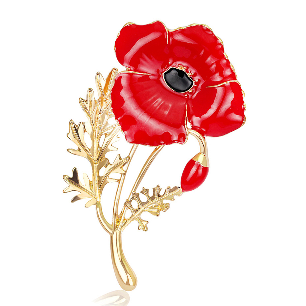 Oneckoha Expoyed Red Poppy Flower Brooches Collection Zinc Alloy Uk