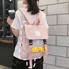 Màu Vàng Dễ Thương Vịt Rõ Ràng Nữ Ita Schoolbags Cho Bé Gái Công Suất Lớn Phụ Nữ Học Du Lịch Ba Lô Bông Tai Kẹp Nylon Nữ Sinh Đựng