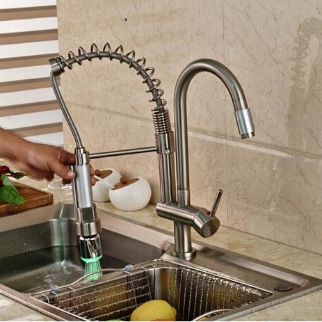 Deck Mounted Brushed Nickel Spring Kitchen Faucet Hot Sale Vessel Sink Mixer Tap Swivel Spout Hot and Cold Water brushed nickel double handles spray stream brass water kitchen swivel spout pull out vessel sink deck mounted mixer tap faucet