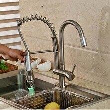 На бортике матовый никель весна кухонный кран горячая распродажа сосуд раковина смеситель поворотный подачи горячей и холодной воды