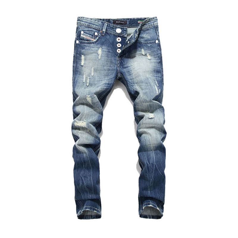 Balplein 100% Cotton.Newly Designer Men Jeans BlueColor Straight Fit Buttons Long Pants Top Quality  Brand Ripped Jeans Men29-38