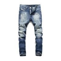 Balplein 100% Cotton.Newly Designer Men Jeans BlueColor Straight Fit Buttons Long Pants Top Quality Brand Ripped Jeans Men29 38