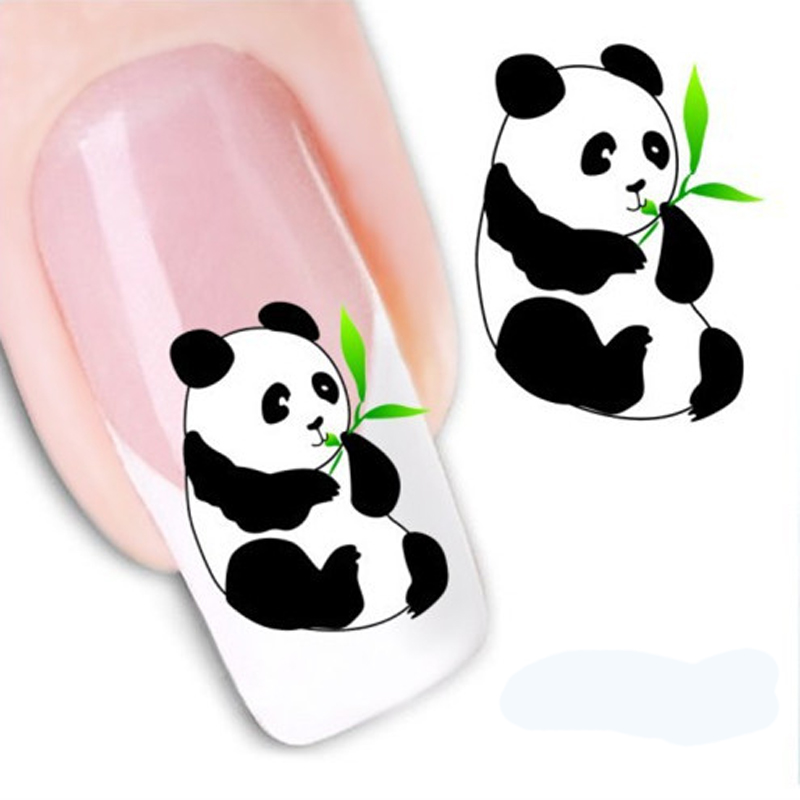 1Pcs Cute Panda Nails Stickers Manicure Nail Art Water Decals Nagel  Transfer Stickers Foil Nail Art Decorations Accessories-in Stickers &  Decals from Beauty ... - 1Pcs Cute Panda Nails Stickers Manicure Nail Art Water Decals