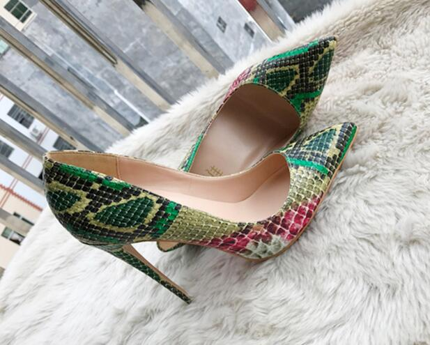 Free shipping real photo pointed toe green beige snake python pointed toe women lady 120mm hot sale high heel shoes pump on sale 2018 hot sale real one l