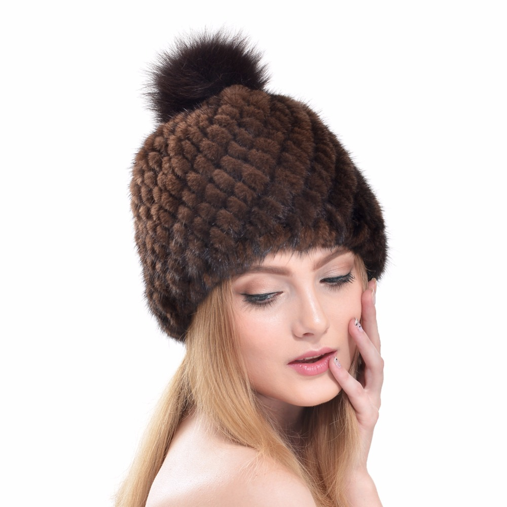 2016 Autumn Winter Super Warm Lovely Ear Flaps Women Genuine Mink Fur Muffs Pineapple Cap Lady Luxury Fur Hat Hair Ball Fur