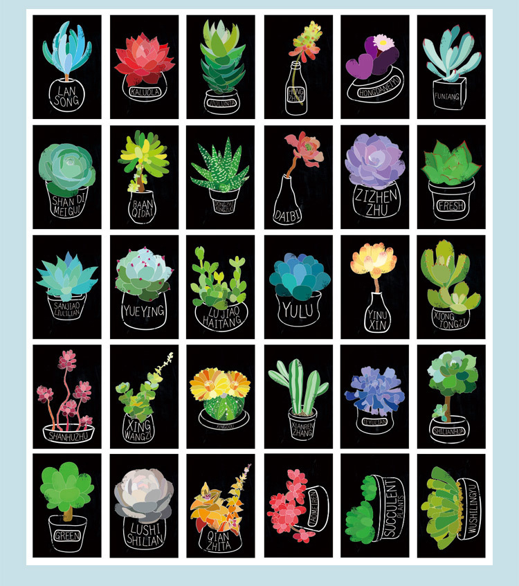 30pcs plant drawing on blackboard style card multi-use Scrapbooking party invitation DIY Decor gift card message card postcard