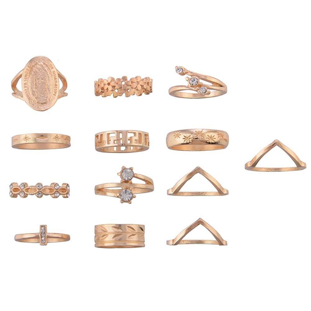 13-Pcs-Set-Boho-Virgin-Mary-Cross-Star-Flower-Leaves-Gem-Round-Gold-Joint-Ring-Set (4) -