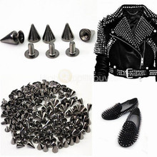 100Pcs Black Punk Spike Rivet Screw Bead DIY Metal Cone Studs Leather craft Spots Rock for Clothing Shoes Bags Decoration