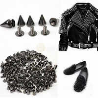 100±3Pcs Black Punk Spike Rivet Screw Bead DIY Metal Cone Studs Leather craft Spots Rock for Clothing Shoes Bags Decoration