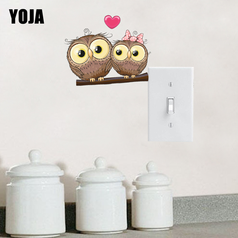 YOJA Unique Love Each Other Owl Switch Sticker Living Room Bedroom Wall Decor 10SS0025