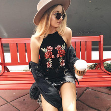 2017 Summer Leisure Hanging Neck Women's Camis Europe and The United States Black Sexy Embroidery Letter Floral Tank Tops