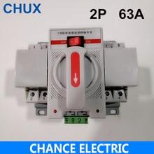 Alimentation électrique, double puissance, 2P 63a, 230V, transfert automatique ATS, convertisseur de circuit automatique, type MCB, livraison gratuite