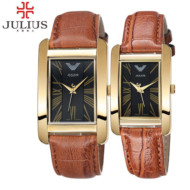 2017 marca de luxo julius retângulo das mulheres dos homens amantes de relógio de couro charme algarismos arábicos horas senhoras relógio de pulso relogio feminino