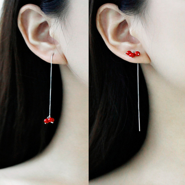 Silver Plated Red Bead Long Earrings Female Temperament Ear Line Brief Vogue Sweet Drop For