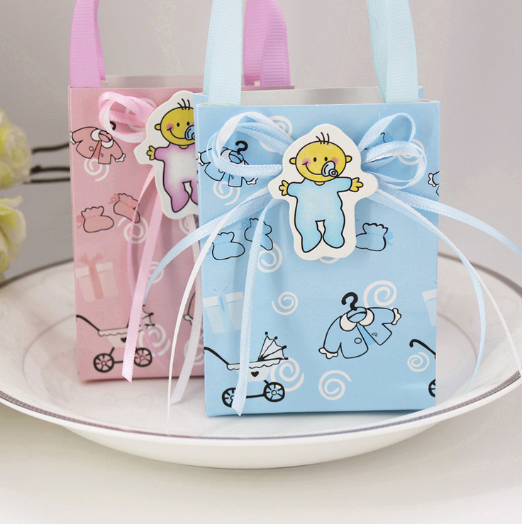 48pcs Pink / Blue Baby Shower Paper Candy Boxes Hand Bags Candy Bags Return  Present Giveaways Mini Gift Bags, 10x7.5x3.5cm