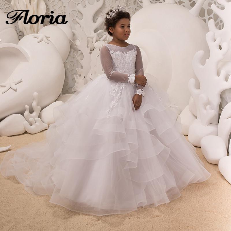 White Ball Gown Flower Girl Dresses 2018 New Girls Pageant Gowns For ...
