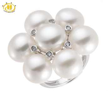 Hutang 100% Natural Freshwater Pearl Wedding Ring White Topaz Solid Sterling Silver 925 Fine Pearl Jewelry for Women (9mm) Gift - DISCOUNT ITEM  5% OFF All Category