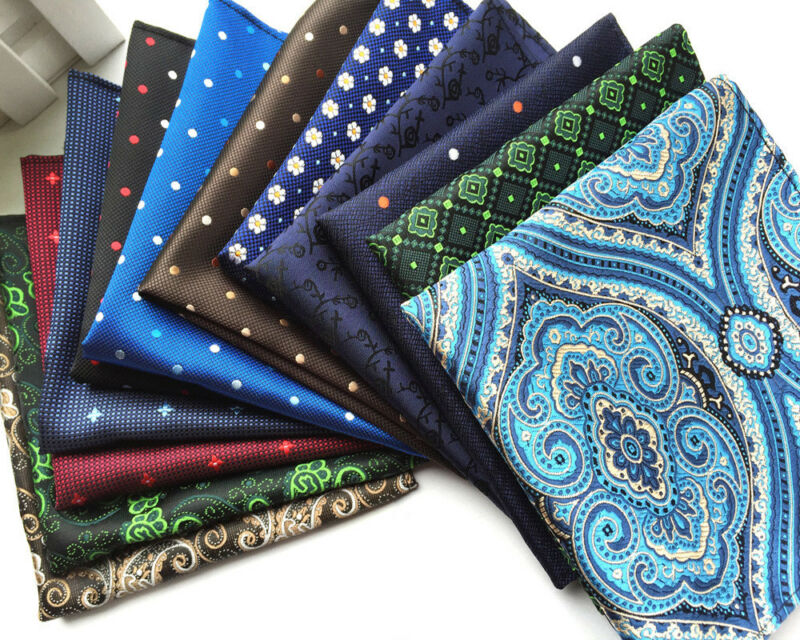 Paisley Party 26 Handkerchief Floral Colors Silk Pocket Men Wedding Square Hanky One Size Handkerchief Striped Flower