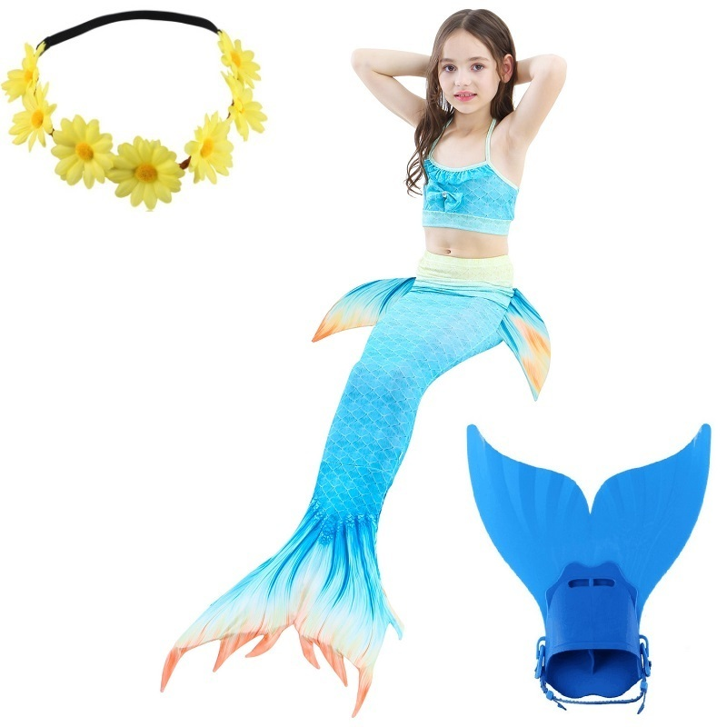 swimmable children little mermaid tail costume for girls  tails for swimming with monofin kids monofins swimsuit bathing suit