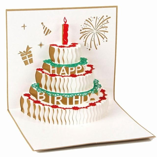 Aliexpress Buy 10pcslot Handmade Paper Art Carving 3D Pop – Pop Up Birthday Cake Card