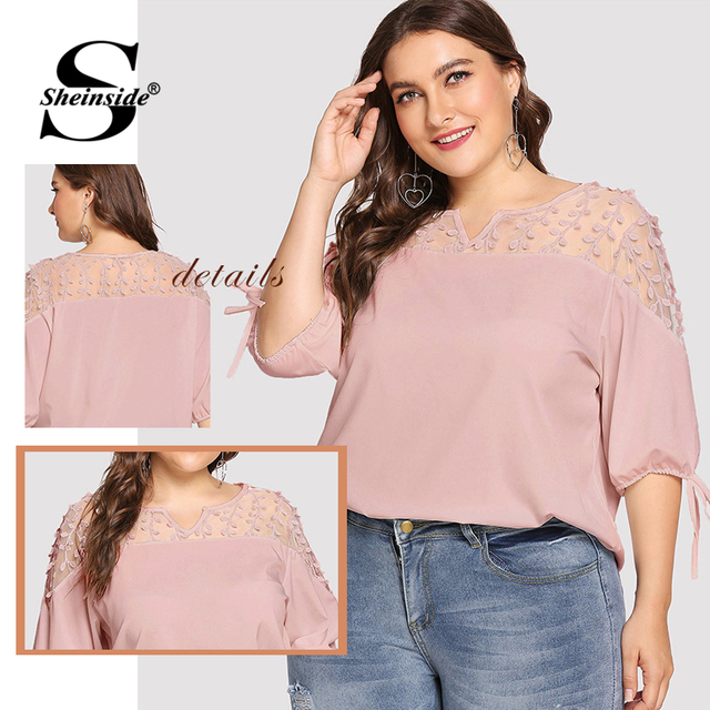 Sheinside Plus Size Pink Contrast Mesh Knot Cuff Blouse Summer Tops for Women 2019 V neck Half Sleeve Elegant Office Blouses 4